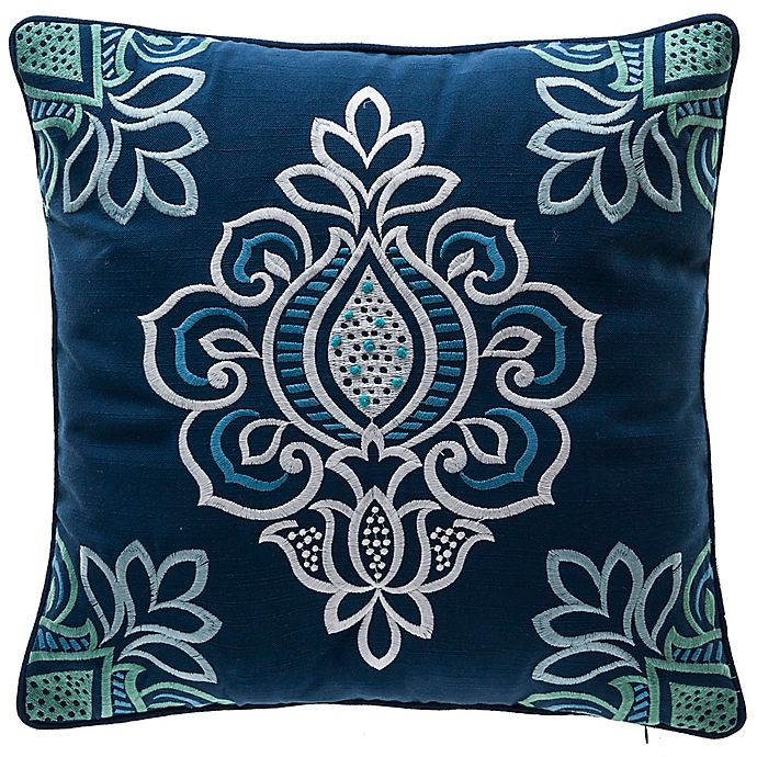 Alternate image 1 for Bombay® Floral Square Indoor/Outdoor Throw Pillow with Welt in Blue