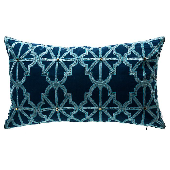 Alternate image 1 for Bombay® Arabesque Lattice Oblong Outdoor Lumbar Pillow in Blue