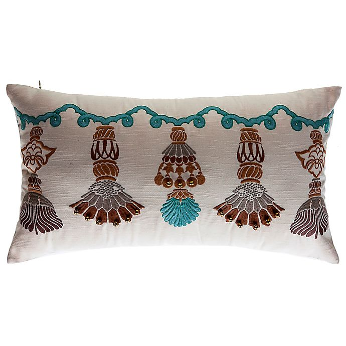 Alternate image 1 for Bombay® India Tassels Outdoor Lumbar Pillow in Cream
