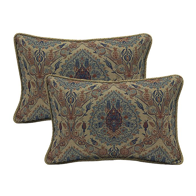 Alternate image 1 for Bombay® Tivoli Damask Outdoor Oversize Lumbar Pillows with Welt (Set of 2)