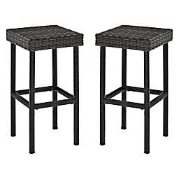 Crosley Palm Harbor Wicker Stools in Grey (Set of 2)