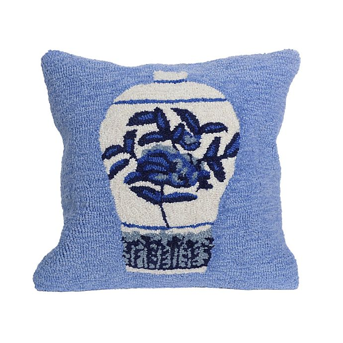 Alternate image 1 for Liora Manne Frontporch Ginger Jars Square Indoor/Outdoor Throw Pillow in Blue