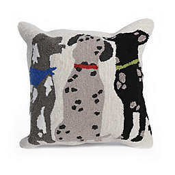 Liora Manne Frontporch Three Dogs Square Indoor/Outdoor Throw Pillow