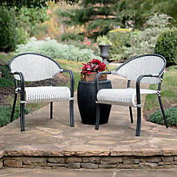 Leisure Made Monticello 3-Piece Outdoor Patio Seating Set in Black/White
