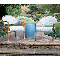 Leisure Made Monticello 3-Piece Outdoor Patio Seating Set in Blue/White