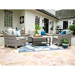 Leisure Made Marietta 4-Piece Outdoor Wicker Conversation Set