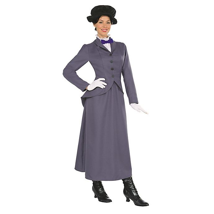 Alternate image 1 for Mary Poppins 4-Piece Womens's X-Large Multicolor English Nanny Costume