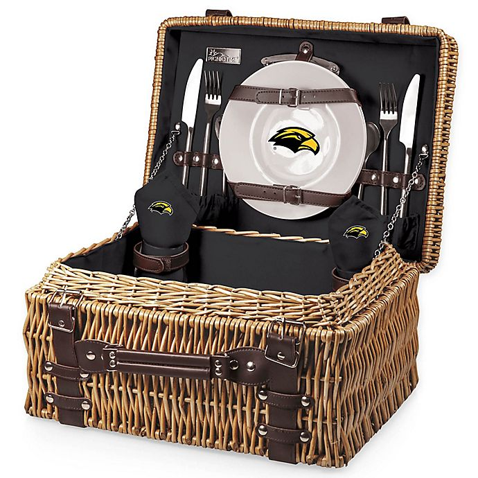 Alternate image 1 for University of Southern Mississippi Champion Picnic Basket with Service for 2 in Black