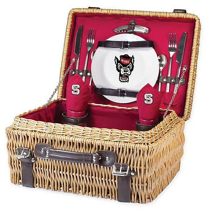 Alternate image 1 for North Carolina State University Champion Picnic Basket with Service for 2 in Red