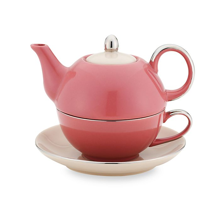 Alternate image 1 for Classic Coffee & Tea Siena Tea for One with Saucer - Mauve/Mocca