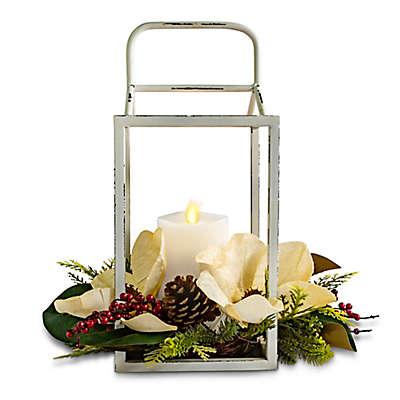 Luminara® Holiday Lantern Real-Flame Effect Pillar Candle in White