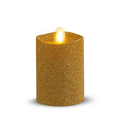 Luminara® Real-Flame Effect Pillar Candle in Gold Glitter