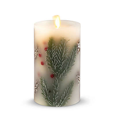 Luminara® Spruce Berry 6-Inch Real-Flame Effect Pillar Candle in Ivory/Brown