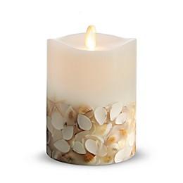 Luminara® Seashell 4-Inch Real-Flame Effect Pillar Candle in White