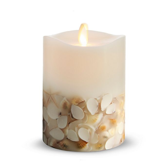 Alternate image 1 for Luminara® Seashell 4-Inch Real-Flame Effect Pillar Candle in White