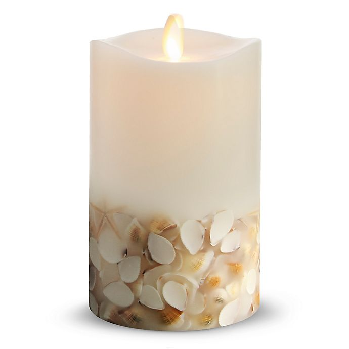 Alternate image 1 for Luminara® Seashell 6-Inch Real-Flame Effect Pillar Candle in White