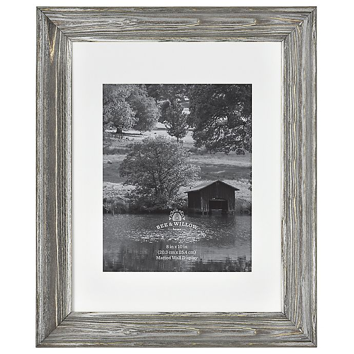 Alternate image 1 for Rustic Impressions 8-Inch x 10-Inch Matted Wood Photo Frame in Aged Silver