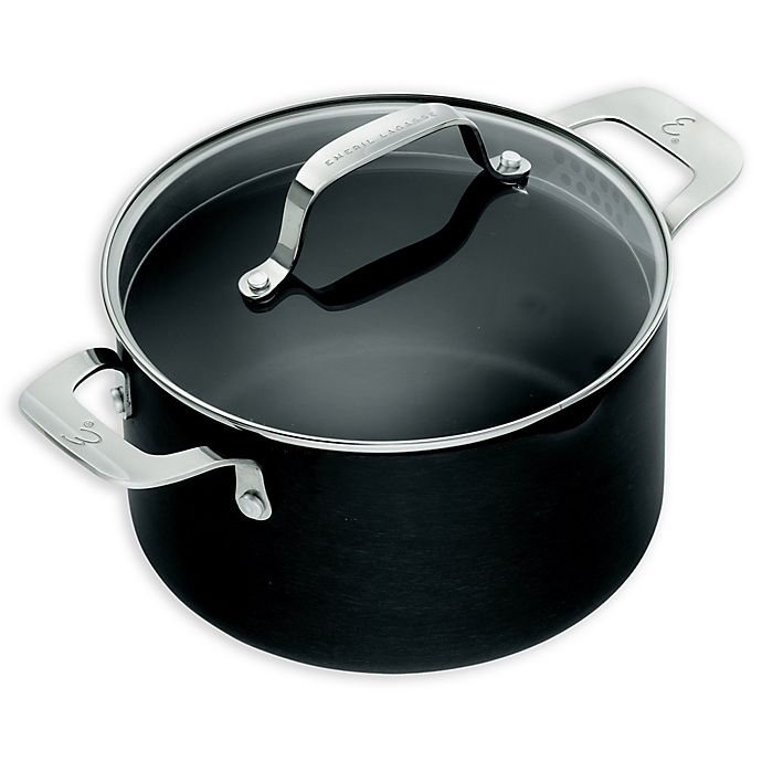 Alternate image 1 for Emeril™ Essential Hard Anodized 5 qt. Covered Dutch Oven in Black