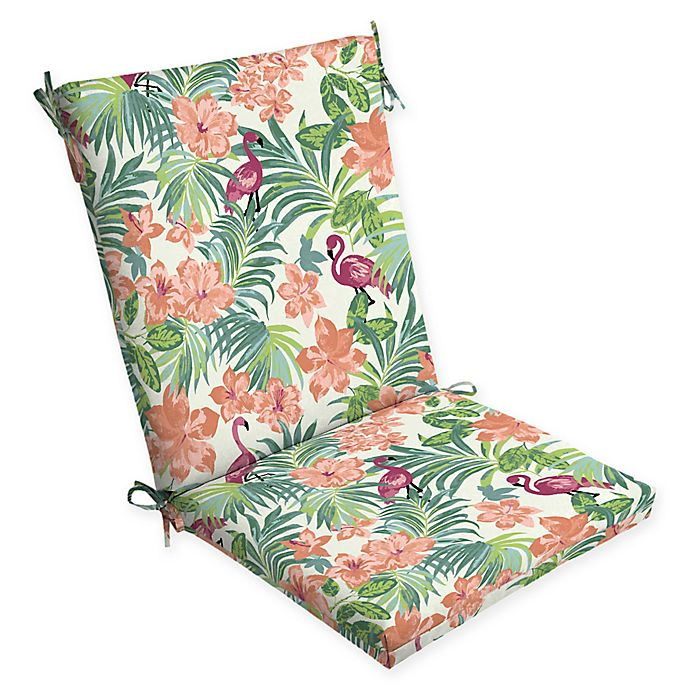 Alternate image 1 for Arden Selections™ Luau Flamingo Outdoor Tropical Chair Cushion in Cream