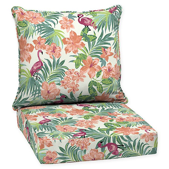 Alternate image 1 for Arden Selections™ Luau Flamingo Outdoor Tropical Deep Seat Set in Cream