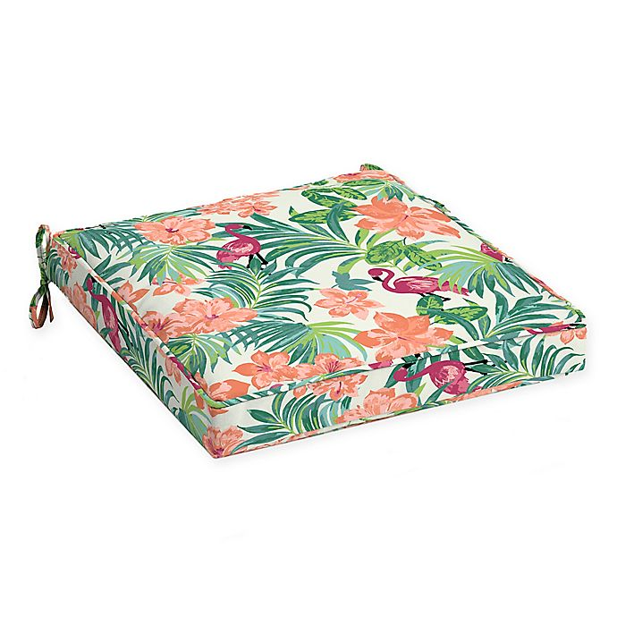 Alternate image 1 for Arden Selections™ Luau Flamingo Outdoor Tropical Seat Cushion in Cream