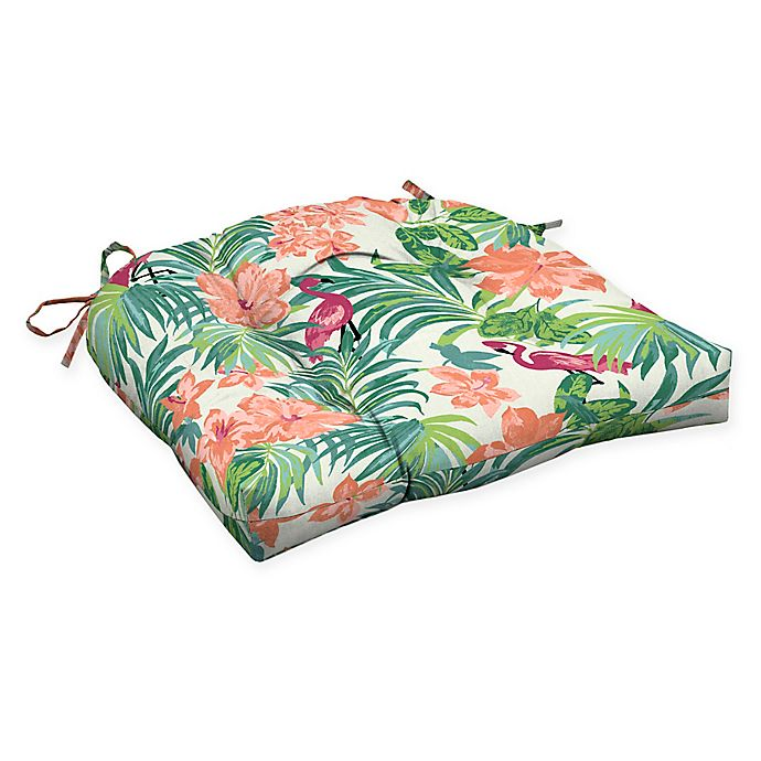 Alternate image 1 for Arden Selections™ Luau Flamingo Outdoor Wicker Seat Cushions in Cream (Set of 2)