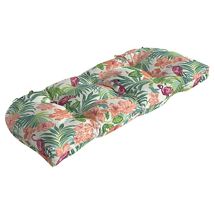 Alternate image 1 for Arden Selections™ Luau Flamingo Outdoor Tropical Wicker Settee Cushion in Cream