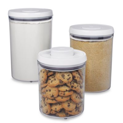 Oxo Good Grips 174 3 Piece Pop Canister Set Bed Bath Amp Beyond