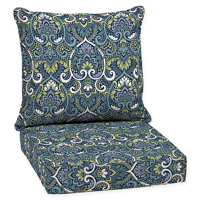 Alternate image 1 for Arden Selections™ Aurora Damask 2-Piece Outdoor Deep Seat Cushion Set in Sapphire
