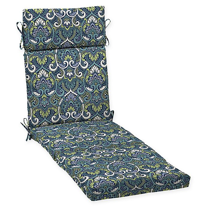 Alternate image 1 for Arden Selections™ Aurora Damask Outdoor Chaise Cushion in Sapphire