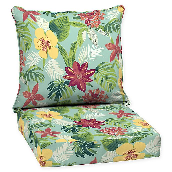 Alternate image 1 for Arden Selections™ Outdoor Elea Tropical 2-Piece Deep Seat Cushion Set in Blue