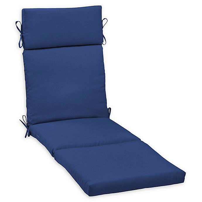 Alternate image 1 for Arden Selections™ Lapis Canvas Texture Outdoor Chaise Lounge Cushion in Blue