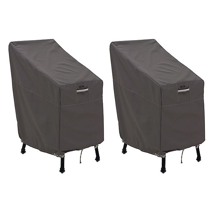 Alternate image 1 for Classic Accessories® Ravenna® 2-Pack Patio Bar Chair & Stool Covers in Dark Taupe