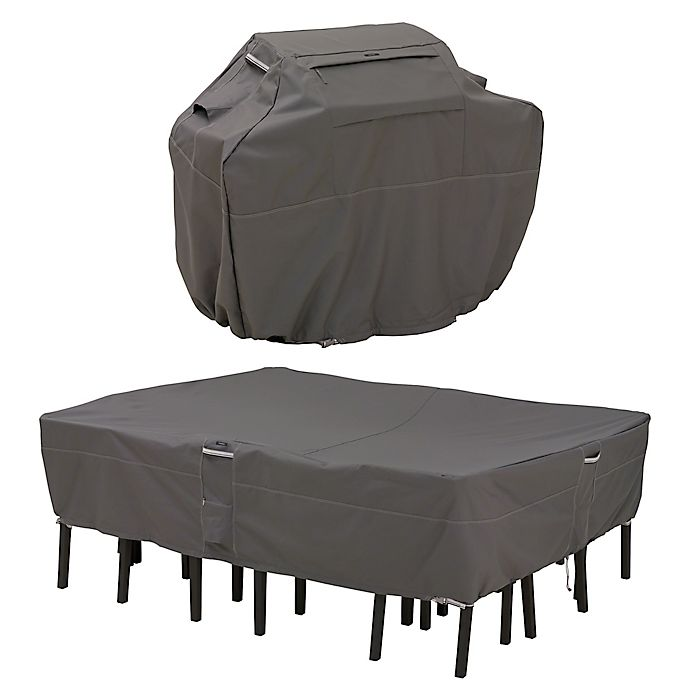 Alternate image 1 for Classic Accessories® Ravenna® Grill and Patio Table and Chair Cover Set in Dark Taupe
