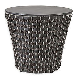 Madison Park Maple Resin Wicker Drum Table in Dark Grey
