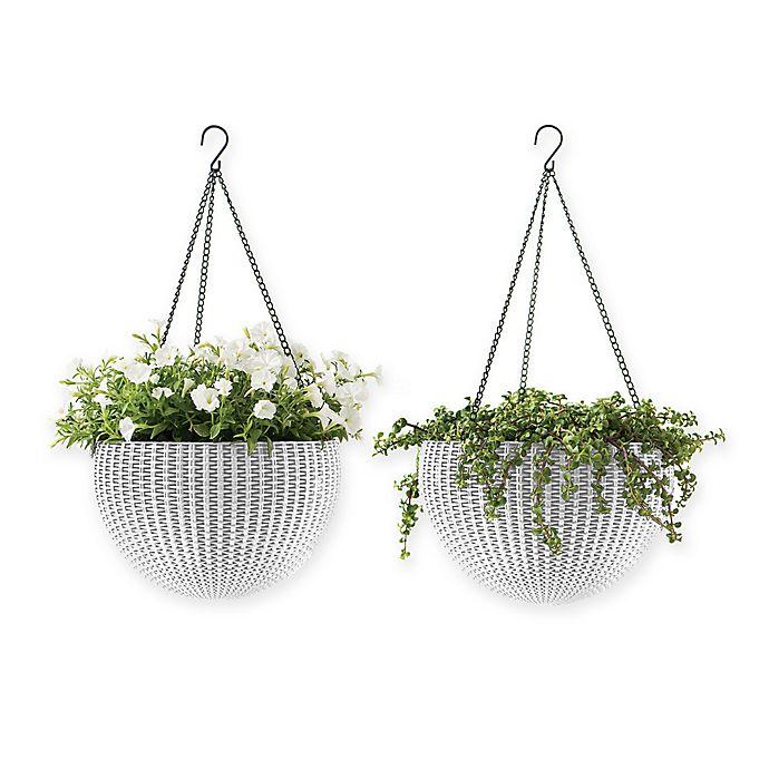 Alternate image 1 for Keter Indoor/Outdoor Hanging Rattan Planters (Set of 2)