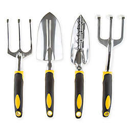 Pure Garden 4-Piece Garden Tool Set in Black/Yellow