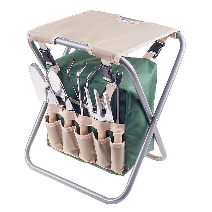 Alternate image 1 for Pure Garden Folding Stool Garden with 5-Piece Tool Set in Beige/Green