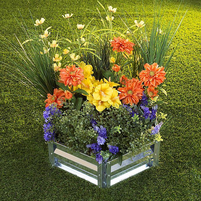 Alternate image 1 for Pure Garden Hexagon Raised Garden Bed Plant Holder Kit in Silver