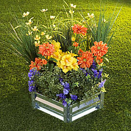 Pure Garden Hexagon Raised Garden Bed Plant Holder Kit in Silver
