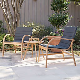 Southern Enterprises Pamona 3-Piece Outdoor Conversation Set in Natural with Grey Cushions