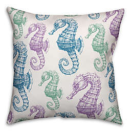 Designs Direct Pastel Seahorses Square Outdoor Throw Pillow in Blue