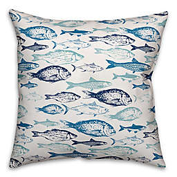 Designs Direct School of Blue Fish Square Outdoor Throw Pillow