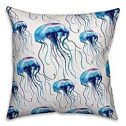 Designs Direct Jellyfish Swarm Square Outdoor Throw Pillow in Blue