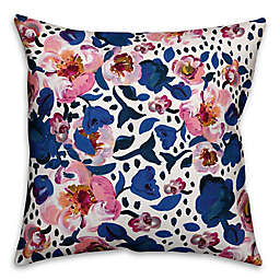 Designs Direct Blue and Pink Floral Square Outdoor Throw Pillow