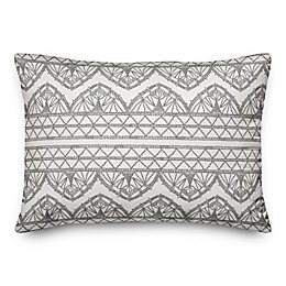 Designs Direct Boho Lace Oblong Outdoor Throw Pillow in Grey