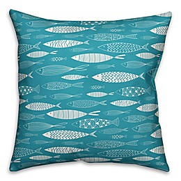 Designs Direct School of Fish Square Outdoor Throw Pillow in Teal