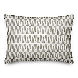 Designs Direct Geometric Triangles Oblong Outdoor Throw Pillow in Taupe