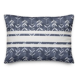 Designs Direct Stripes and Leaves Oblong Outdoor Throw Pillow in Navy/White