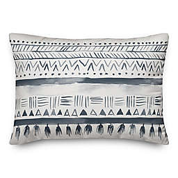 Designs Direct Geometric Oblong Outdoor Throw Pillow in Blue/White
